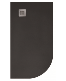 Slate 1000x800 Offset Quadrant Shower Tray LH Black - Anti Slip
