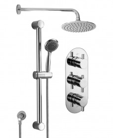 ORION Triple Shower Valve & Ria Head & Round Slide Rail Kit