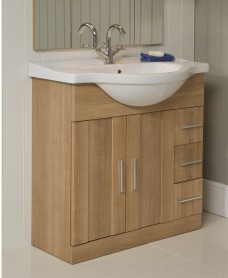 Oslo Oak 85cm Vanity Unit & Basin