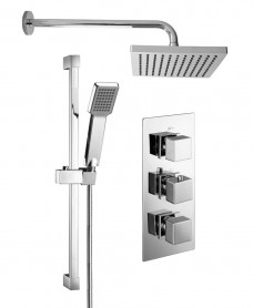 PICTOR Triple Shower Valve & Kelda Head & Square Slide Rail Kit