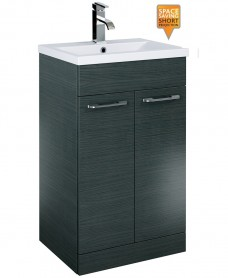 Otto Plus 50cm Slimline Vanity Unit 2 Door Grey and Basin