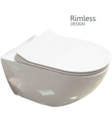 Darcy Rimless Wall Hung Toilet with SLIM soft close seat - QR