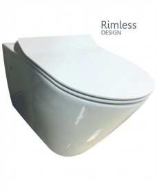Resort Wall Hung Rimless Toilet with SLIM Soft Close Seat