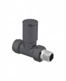 Straight Radiator Valve Round Head (Set of 2) - Anthracite