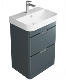 Sott' Aqua Dark Grey Floor Standing 48 Vanity Unit - 2 Drawer