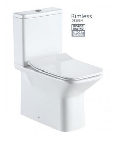 Serena Close Coupled Toilet with Rimless Design and SLIM Soft Closing Seat QR