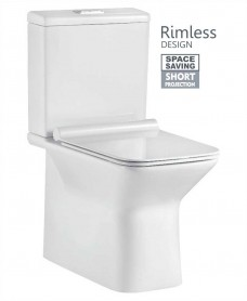 Serena Fully Shrouded Close Coupled Rimless WC with SLIM Quick Release Soft Closing Seat