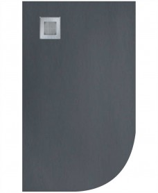 Slate 1000x800 Offset Quadrant Shower Tray LH Anthracite - Anti Slip