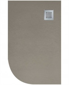 Slate 1000x800 Offset Quadrant Shower Tray RH Taupe - Anti Slip