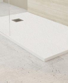 SLATE 1400 x 800 Shower Tray White - with FREE shower waste