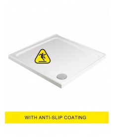 Kristal Low Profile Shower Anti Slip 700x700 Square Shower Tray 4 Upstand - with FREE shower waste