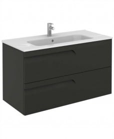 Brava 100 Gloss Grey 2 Drawer Unit & Slim Basin