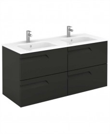 Brava 120 Gloss Grey 4 Drawer Unit & Slim Basin