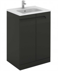Brava 60 Gloss Grey 2 Door Floor Standing Unit & Slim Basin