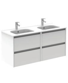 Smart Gloss White 120cm Vanity Unit 4 Drawer and Slim Basin