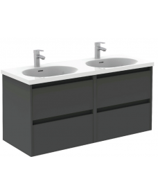 Smart Gloss Grey 120cm Vanity Unit 4 Drawer and Idea Basin
