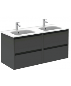 Smart Gloss Grey 120cm Vanity Unit 4 Drawer and Slim Basin