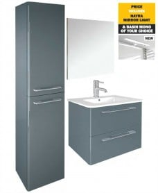 60 Mara Gloss Grey Pack Vanity - Wall Column - Mirror - Light - Tap -- *Special Offer