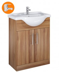 Belmont 65cm Vanity Unit Walnut with Alpha Tap - * Special Offer