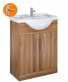 Belmont 65cm Vanity Unit Walnut with Nena Tap - * Special Offer