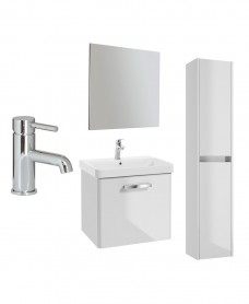 ODEON White Gloss 60cm 1 drawer Wall Hung Vanity Unit - Special Offer