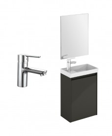 Dijon Cloakroom Gloss Grey Wall Hung Pack - Special Offer