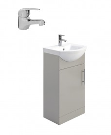 Belmont Gloss Light Grey 45cm Vanity Unit Pack - Alpha Basin Mixer - Special Offer