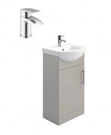 Belmont Gloss Light Grey 45cm Vanity Unit Pack - Corby Basin Mixer - Special Offer