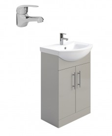 Belmont Gloss Light Grey 55cm Vanity Unit Pack - Alpha Basin Mixer - Special Offer
