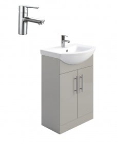 Belmont Gloss Light Grey 55cm Vanity Unit Pack - Nena Basin Mixer - Special Offer