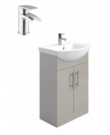 Belmont Gloss Light Grey 55cm Vanity Unit Pack - Corby Basin Mixer - Special Offer
