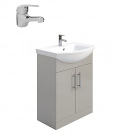 Belmont Gloss Light Grey 65cm Vanity Unit Pack - Alpha Basin Mixer - Special Offer
