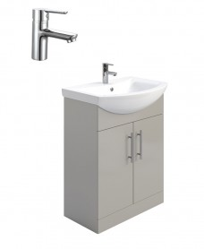 Belmont Gloss Light Grey 65cm Vanity Unit Pack - Nena Basin Mixer- Special Offer