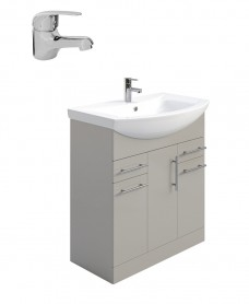 Belmont Gloss Light Grey 75cm Vanity Unit Pack - Alpha Basin Mixer - Special Offer