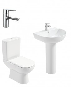 Viva Round Full Pedestal & Close Coupled WC Pack -Nena  Basin Mixer - Special Offer