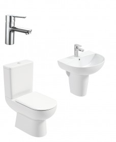 Viva Round Semi Pedestal & Close Coupled WC Pack - Nena Basin Mixer - Special Offer