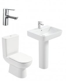 Viva Square Full Pedestal & Close Coupled WC Pack -Nena  Basin Mixer- Special Offer