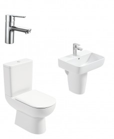 Viva Square Semi Pedestal & Close Coupled WC Pack - Nena Basin Mixer- Special Offer