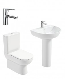Viva Round Full Pedestal & Fully Shrouded WC Pack - Nena Basin Mixer - Special Offer