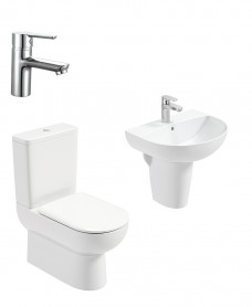 Viva Round Semi Pedestal & Fully Shrouded WC Pack - Nena Basin Mixer - Special Offer