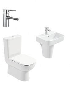 Viva Square Semi Pedestal & Fully Shrouded WC Pack - Nena Basin Mixer - Special Offer