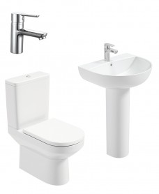 Vienna Round Full Pedestal & Close Coupled WC Pack - Nena  Basin Mixer - Special Offer