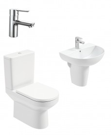 Vienna Round Semi Pedestal & Close Coupled WC Pack - Nena Basin Mixer - Special Offer
