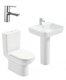 Vienna Square Full Pedestal & Close Coupled WC Pack -Nena  Basin Mixer - Special Offer