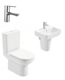 Vienna Square Semi Pedestal & Close Coupled WC Pack - Nena Basin Mixer - Special Offer