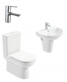 Vienna Round Semi Pedestal & Fully Shrouded WC Pack - Nena Basin Mixer - Special Offer
