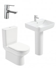 Vienna Square Full Pedestal & Fully Shrouded WC Pack - Nena Basin Mixer - Special Offer