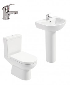 Chloe Full Pedestal & Close Coupled WC Pack -Cosmos  Basin Mixer - Special Offer