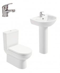 Chloe Full Pedestal & Fully Shrouded WC Pack - Cosmos  Basin Mixer - Special Offer
