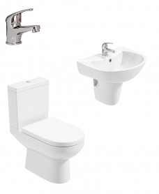 Chloe Semi Pedestal & Close Coupled WC Pack - Cosmos Basin Mixer - Special Offer